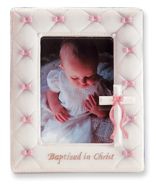 Baptized in Christ Photo Frame- Pink