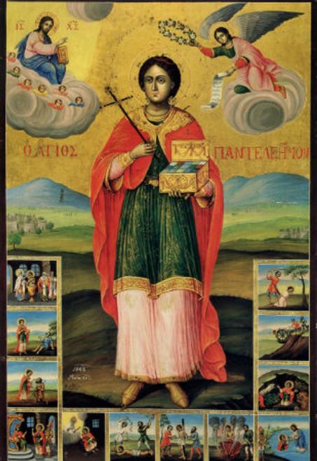 St. Panteleimon Icon with Scenes- Icon II