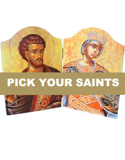 Pick-Your-Saints Icon Diptych- Large Panels- 30% CLEARANCE!