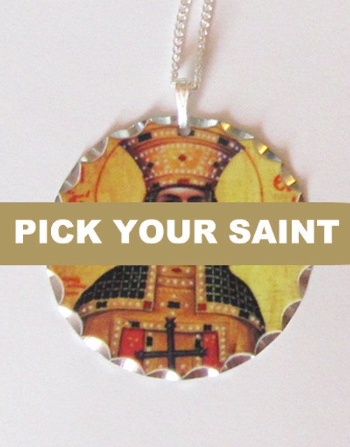 "Pick-Your-Saint Silver Round Icon Pendant with 18"" Sterling Silver Chain"