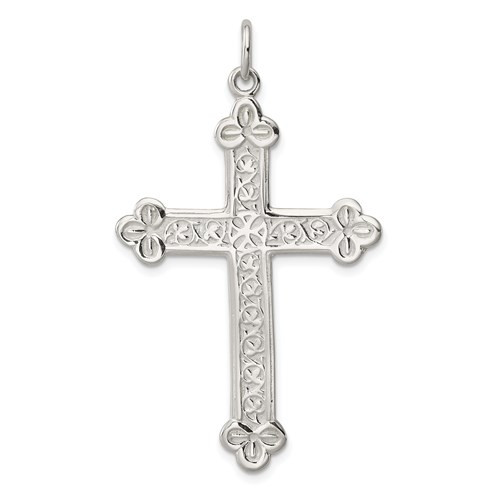 Sterling Silver Budded Cross- 1 7/8""