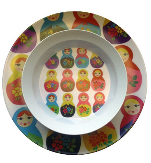 Matryoshka Design Plate & Bowl Set