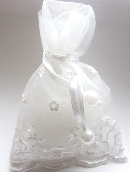 Embroidered Lace & Pearl Organza Favor Bags- White- Set of 25