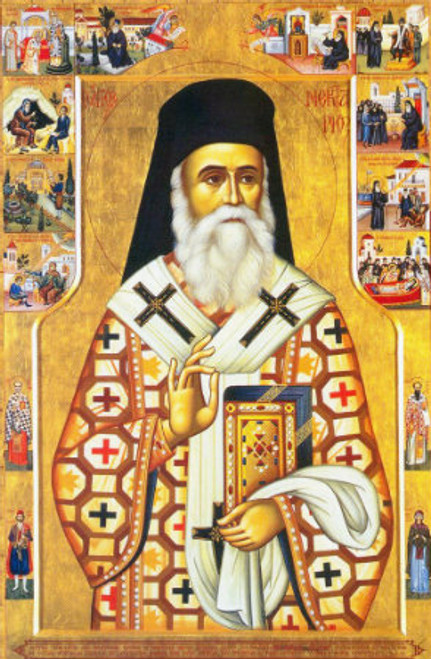St. Nektarios Icon with Scenes