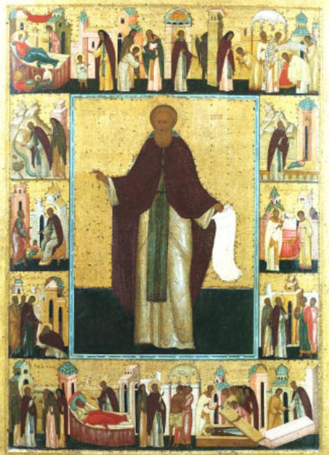 St. Sergius of Radonezh Icon with Scenes