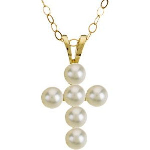 """14KT Youth Pearl  1/2"""" Cross with 15"""" Necklace"""