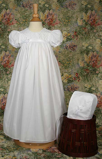 "25"" Nylon Tricot Baptismal Gown with Embroidered Bodice"