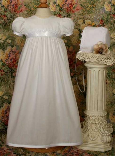 "25"" Polycotton Baptismal Gown with Lace Trim"