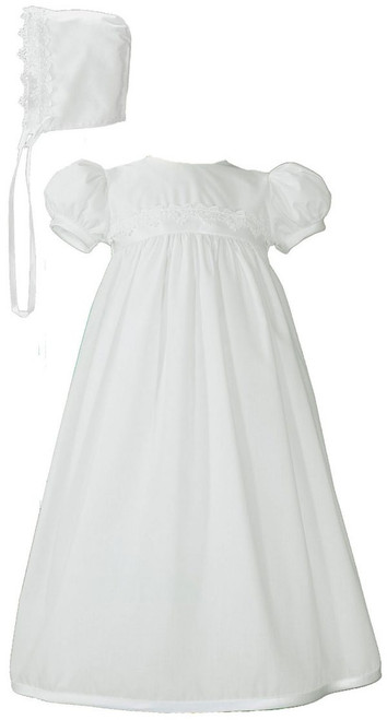 "25"" Polycotton Baptismal Gown with Lace Trim"