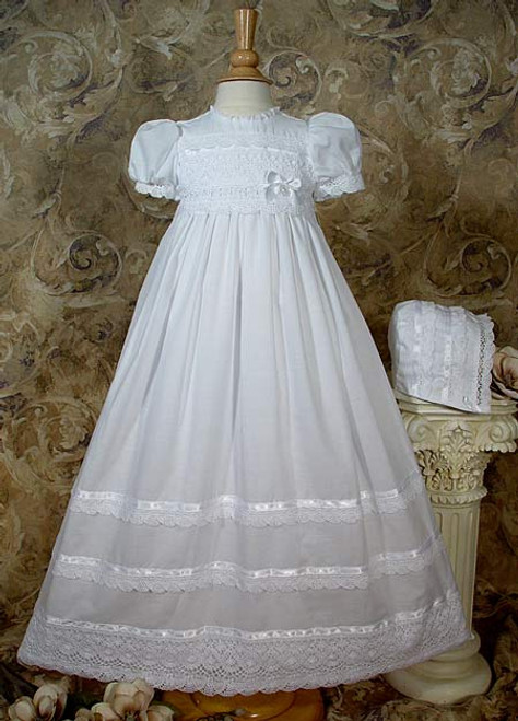 """30"""" Cotton Batiste Baptismal Gown with Cluny Trim (Toddler Sizes)"""