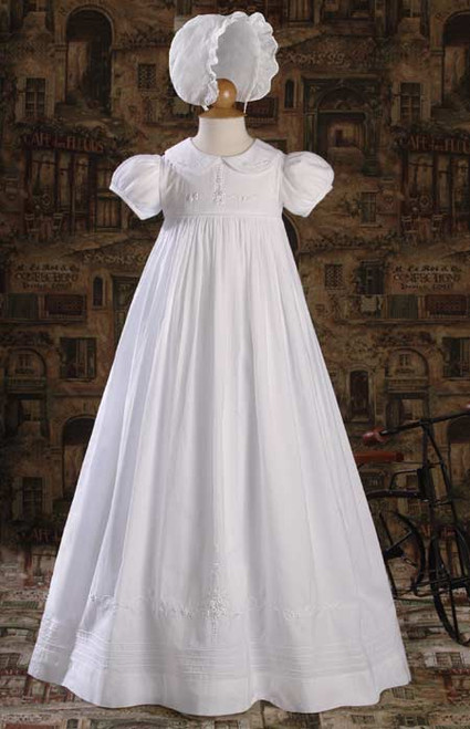 """33"""" Heirloom Baptismal Gown with Hand Embriodery"""