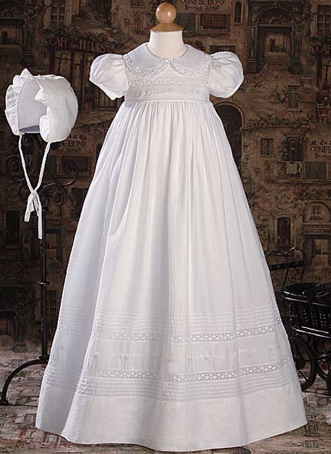 "33"" Short Sleeve Baptismal Gown with Hand Embroidery and Pintucking"