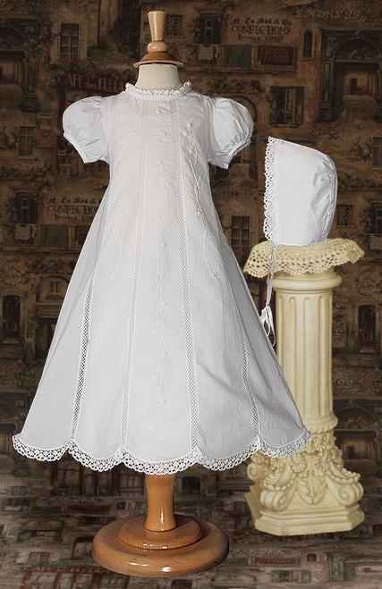 """26"""" Cotton & Lace Baptismal Gown"""