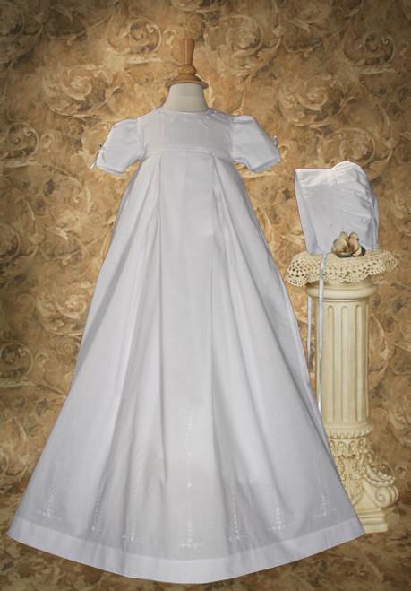 "34"" Pleated Heirloom Baptismal Gown"