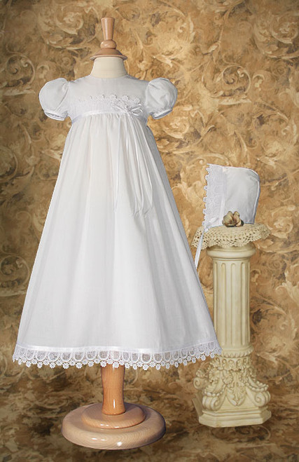 "26"" Cotton Baptismal Dress with Italian Lace"