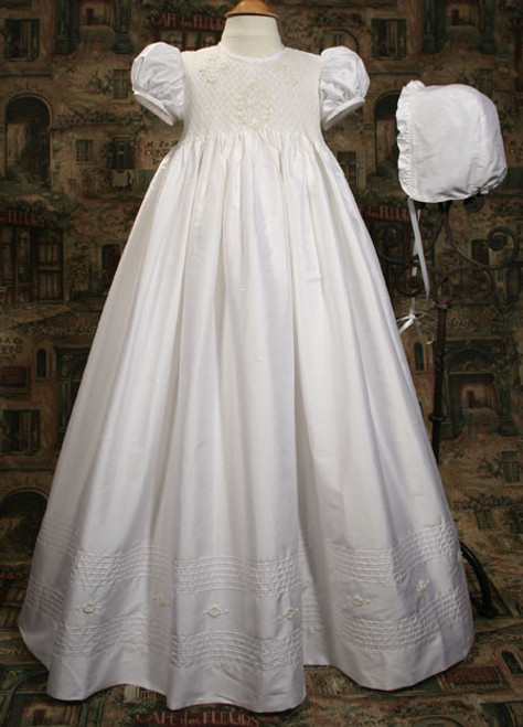 "31"" Silk Dupioni Baptismal Gown with Smocked Bodice"