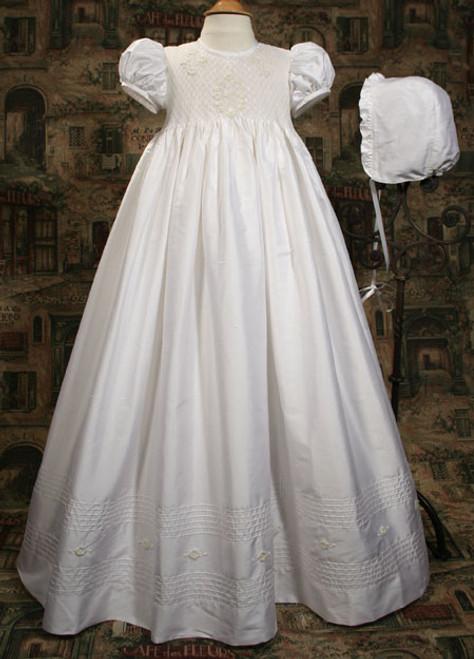 "31"" Silk Dupioni Baptismal Gown with Smocked Bodice"