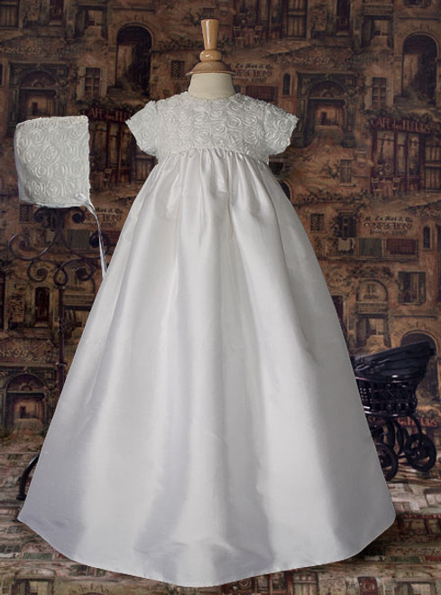 "32"" Silk Baptismal Gown with Rosette Bodice"
