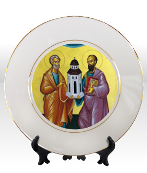 "8 1/4"" Porcelain Icon Plate with 24K Gold Trim: Ss. Peter and Paul"