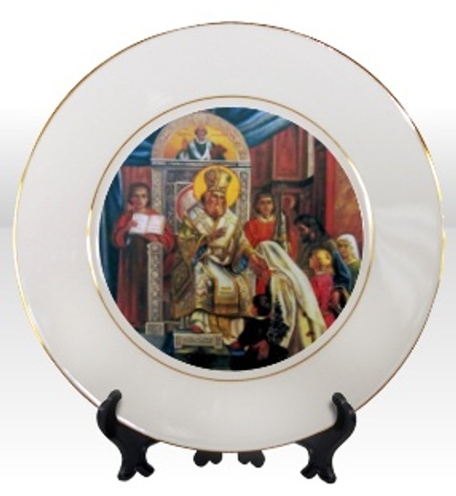 """8 1/4"""" Porcelain Icon Plate with 24K Gold Trim: St. Sava Blessing the Children"""