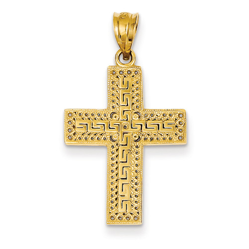 14KT Greek Filigree Cross Pendant- 7/8""