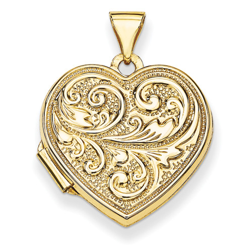 "14KT Scrolled ""Love you always"" Heart Locket"