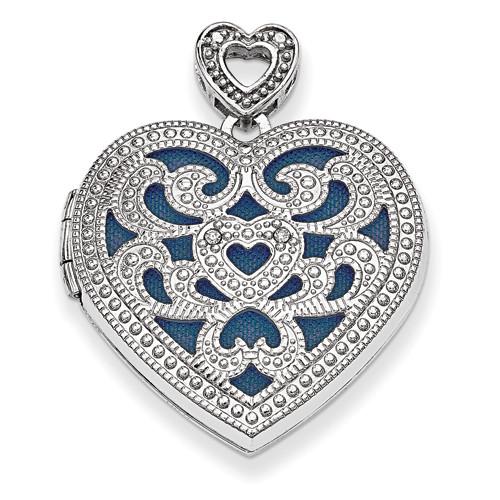 Sterling Silver 24mm Heart w/Diamond Vintage Locket