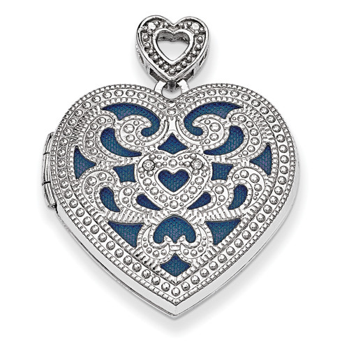 Sterling Silver 24mm Heart w/Diamond Vintage Locket