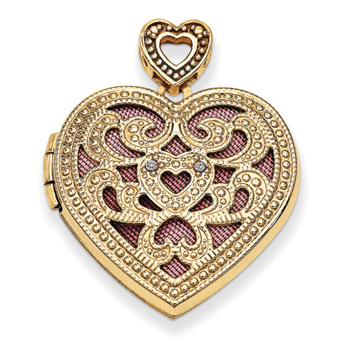 14KT 24mm Heart w/Diamond Vintage Locket