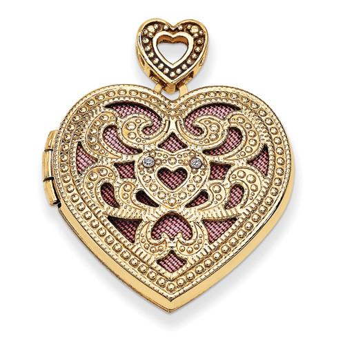14KT 24mm Heart w/Diamond Vintage Locket