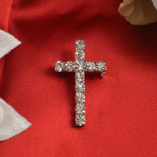 Cross Pin with Rhinestones - Pack of 25