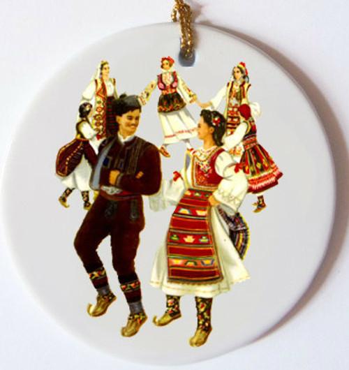 Serbian Dancers Ceramic Ornament