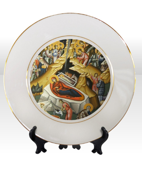 """8 1/4"""" Porcelain Icon Plate with 24K Gold Trim: Nativity of Christ"""