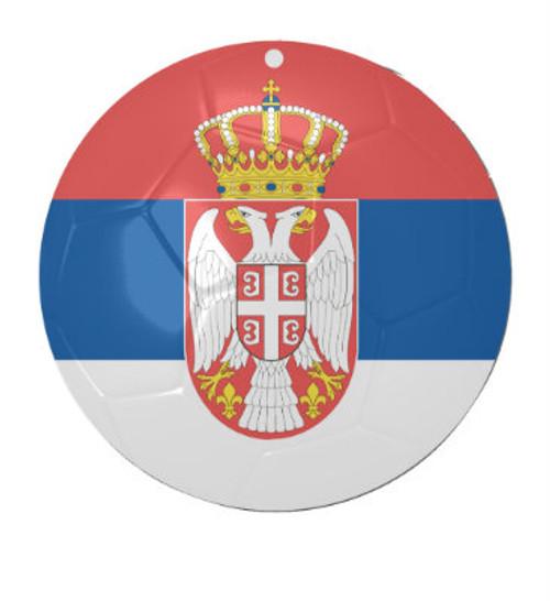 Serbian Soccer Ball Ceramic Ornament