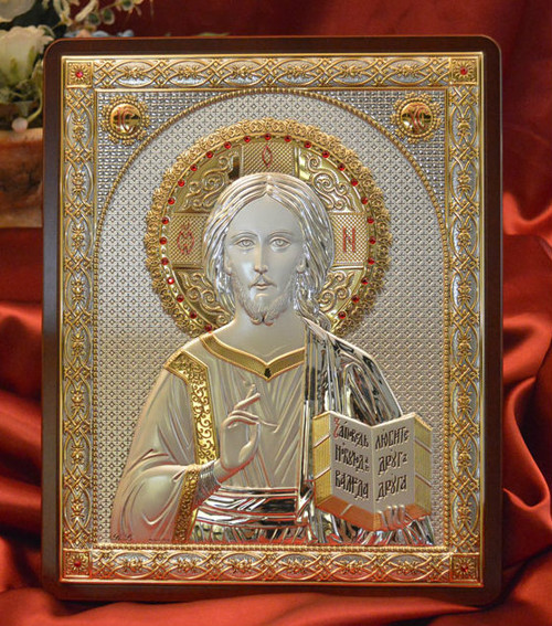 Pantocrator Italian Silver Icon: 4 Sizes Available
