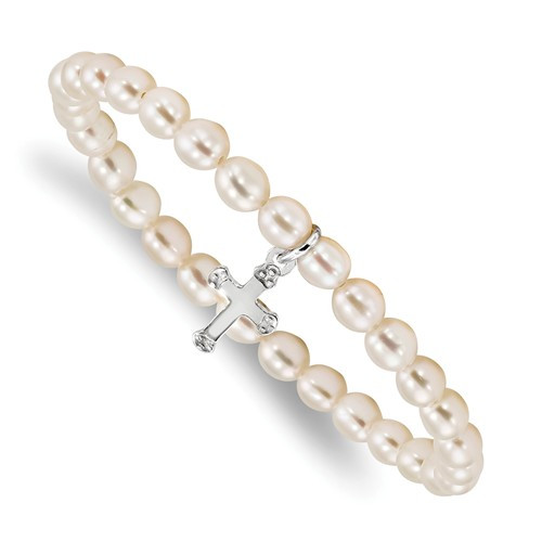 "SS Cross Freshwater Cultured Pearl 5"" Stretch Bracelet"