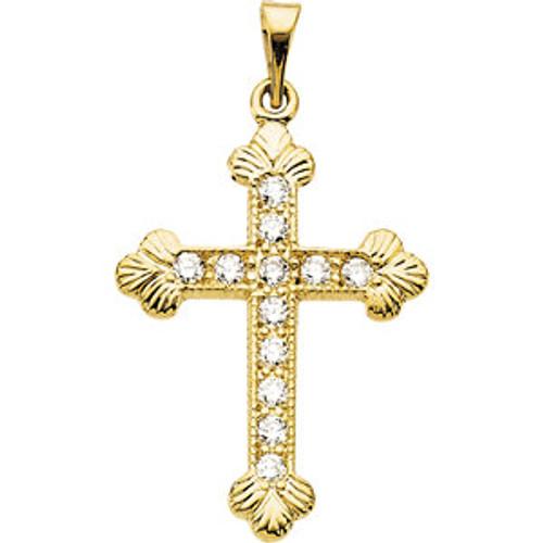"14KT Genuine Diamond Byzantine Cross Pendant- 7/8"""