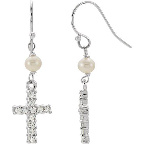 Sterling Silver Freshwater Cultured Pearl & CZ Cross Earrings