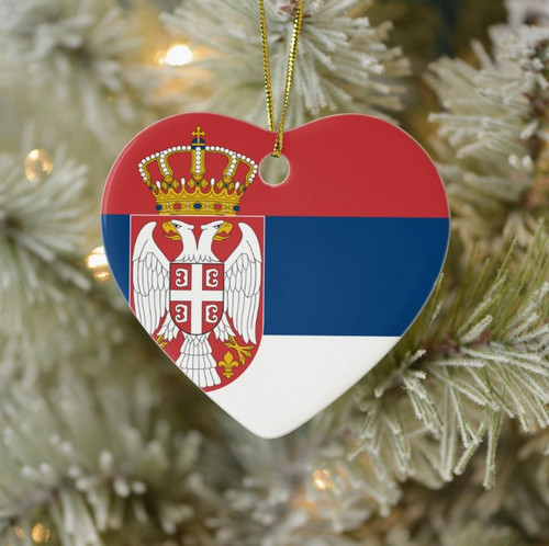 Serbian Flag Heart Ornament