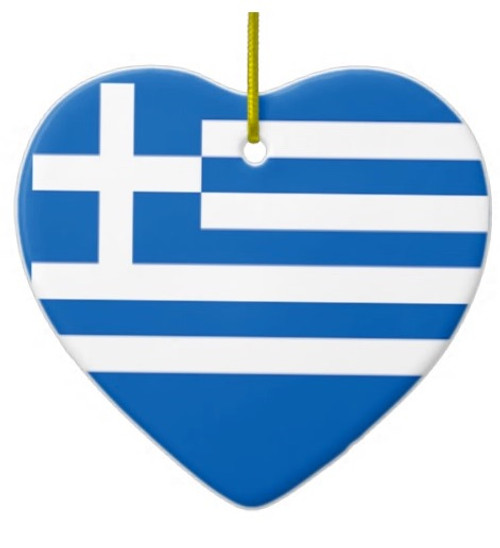 Greek Flag Heart Ornament