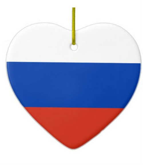 Russian Flag Heart Ornament