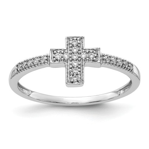 14K White Gold Polished Genuine Diamond Cross Ring