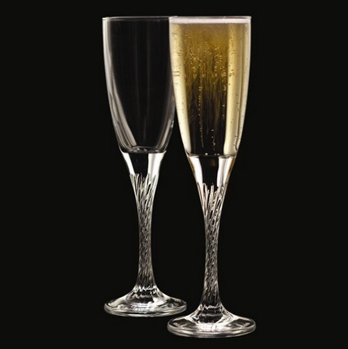 Engravable Private Party Crystal Twisted Stem Flutes: Set of 2