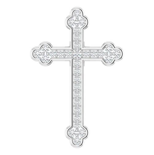 "14KWG 1/4 CTW Diamond Cross Pendant - 7/8"""