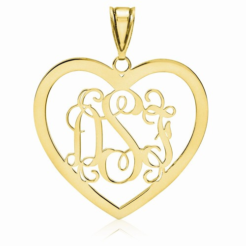 Gold Plated over Sterling Silver Heart Monogram Pendant 1 1/8""