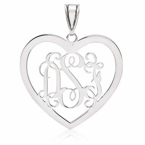 Sterling Silver Heart Monogram Pendant 1 1/8""