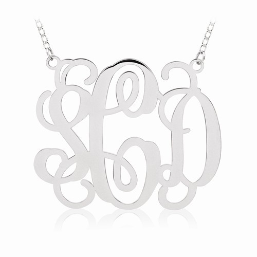 """Sterling Silver Round Monogram Pendant 1 5/8"""" with 18"""" SS Chain"""