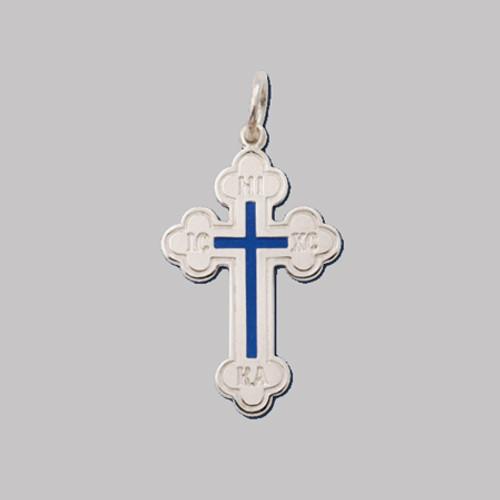 "Sterling Silver Greek Enameled Baptismal Cross- 1 3/8"""