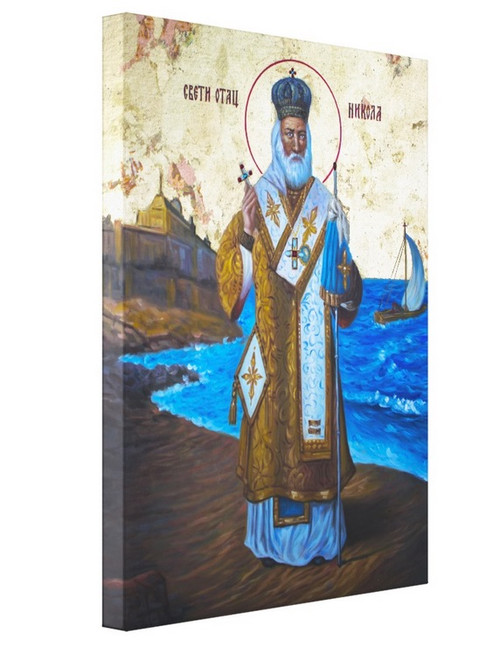 "St. Nicholas Icon- Icon II 11 x 14"" Mounted Canvas (1 1/2"" Thick)"