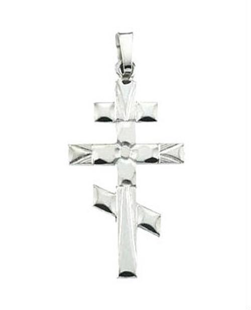 "14KWG Classic 3-Bar Cross: Starburst: 1 1/4"""